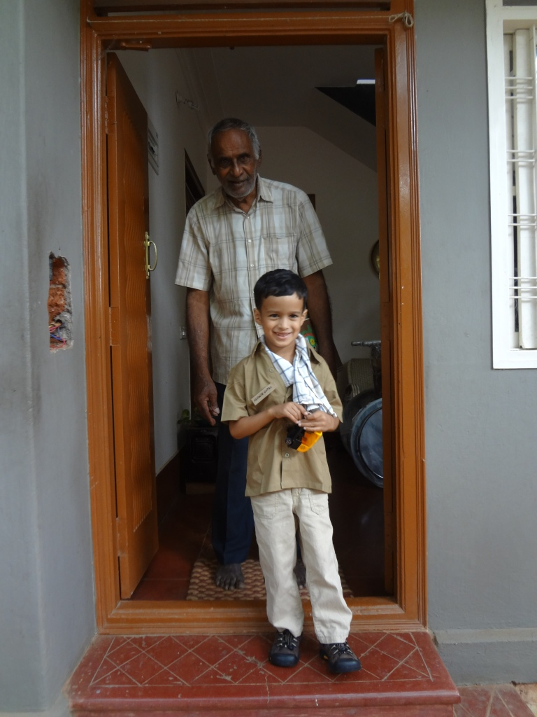 Ashwin dressed as an auto driver for fancy dress day at school