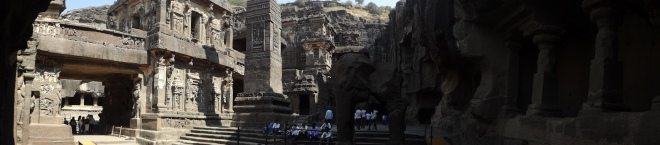 The largest Hindu Temple in Ellora. Carved from solid mountain from the top.